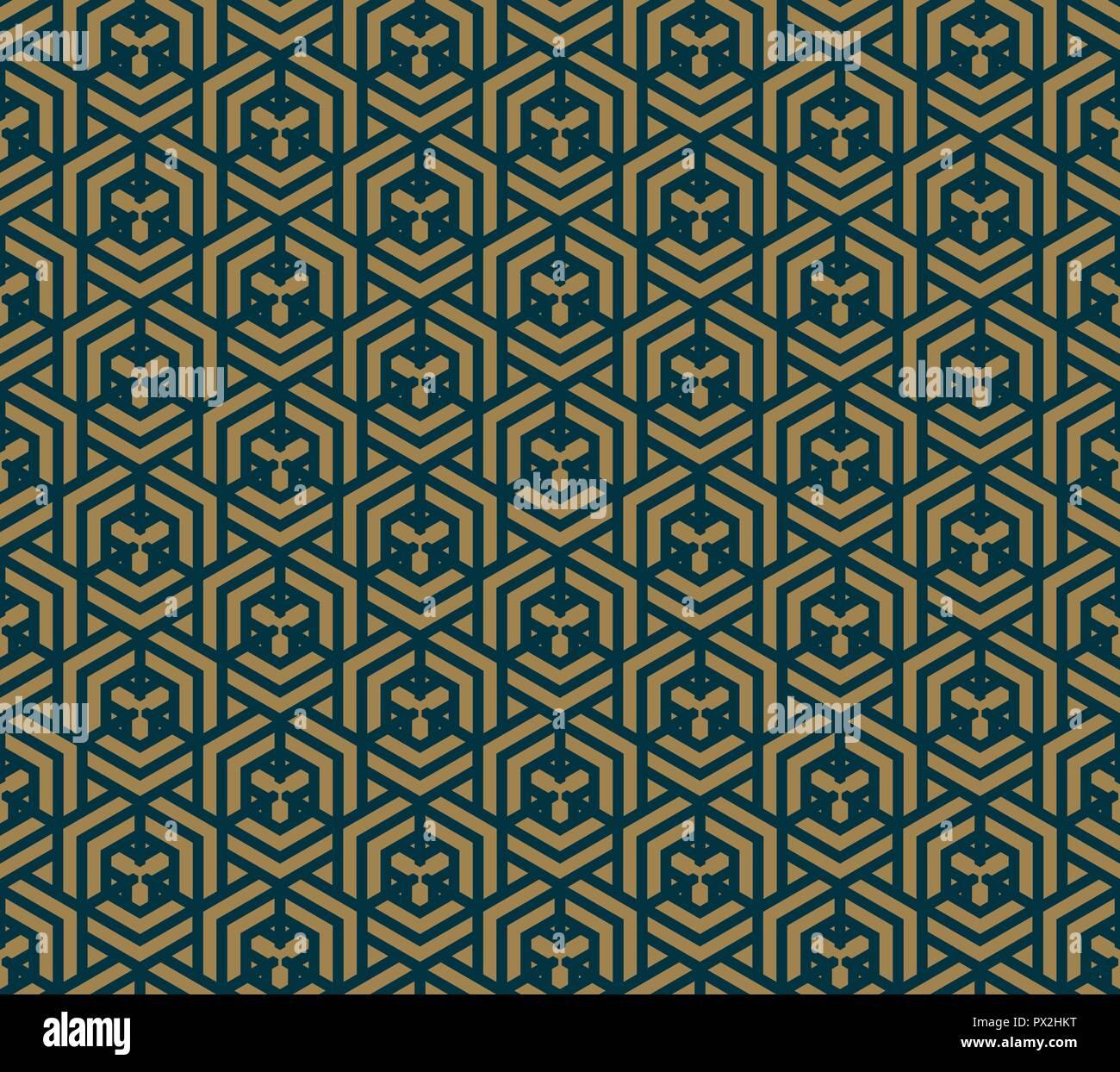 Abstracto geométrico con líneas, rombos un fondo vectorial sin fisuras. Azul-negro y textura de oro Ilustración del Vector