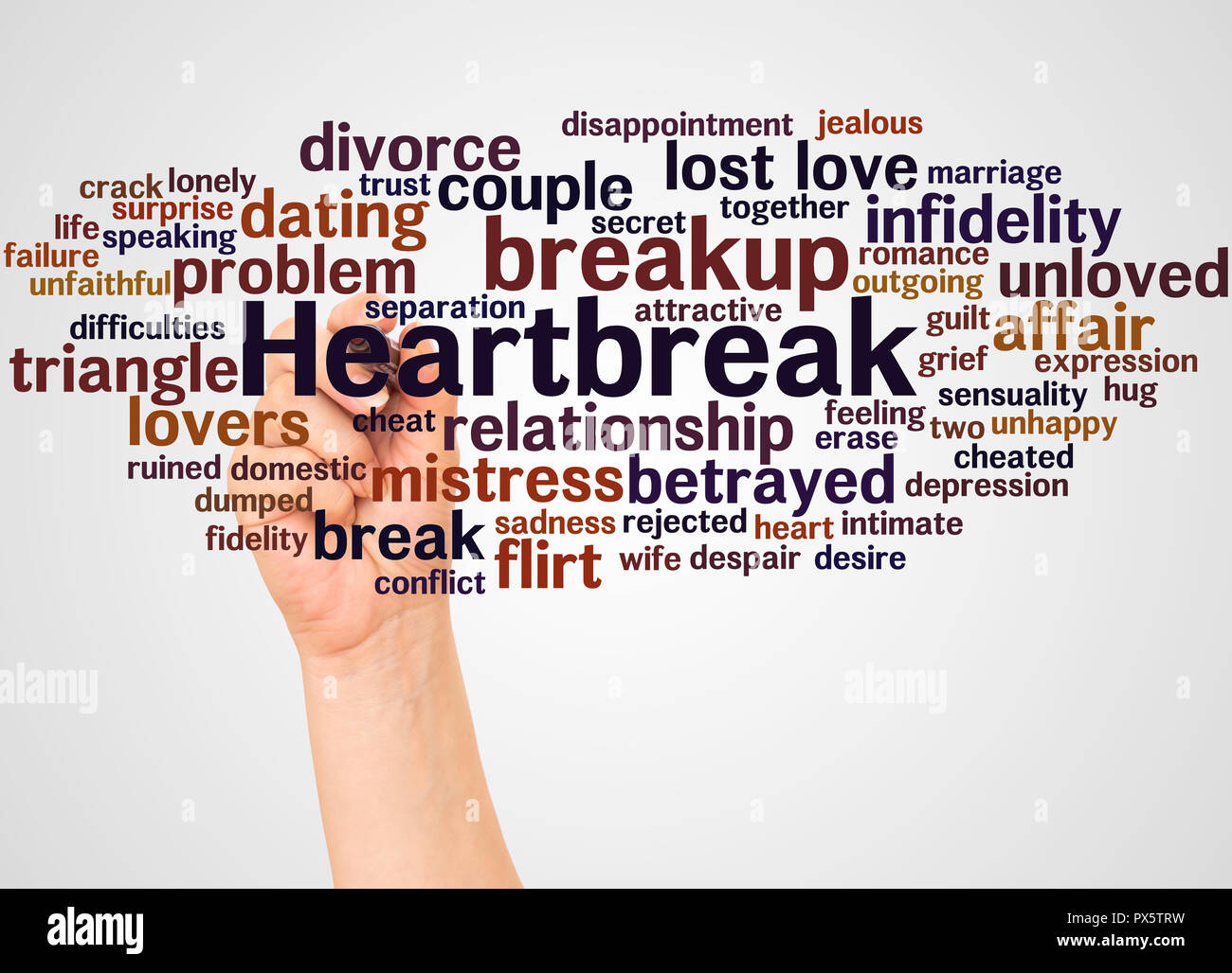 Heartbreak palabra cloud y de la mano con el marcador concepto sobre fondo blanco. Imagen De Stock