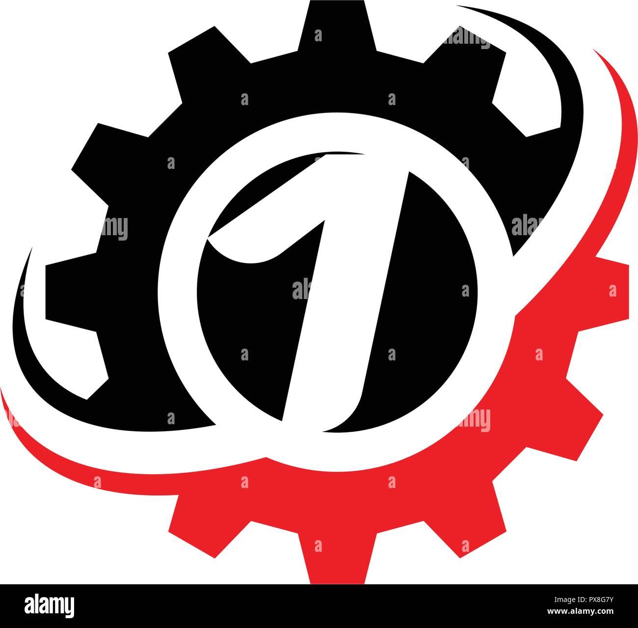 El número 1 de la plantilla de diseño de logotipo de engranajes Imagen De Stock