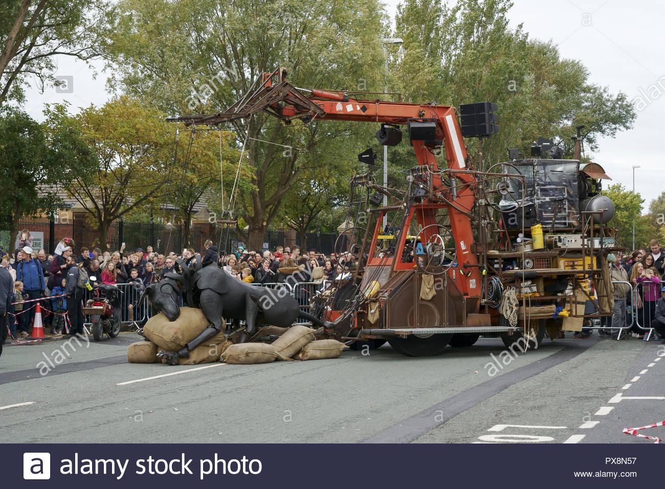 El perro Xolo toma un descanso durante los gigantes espectacular desfile en el centro de la ciudad de Liverpool, Reino Unido Foto de stock