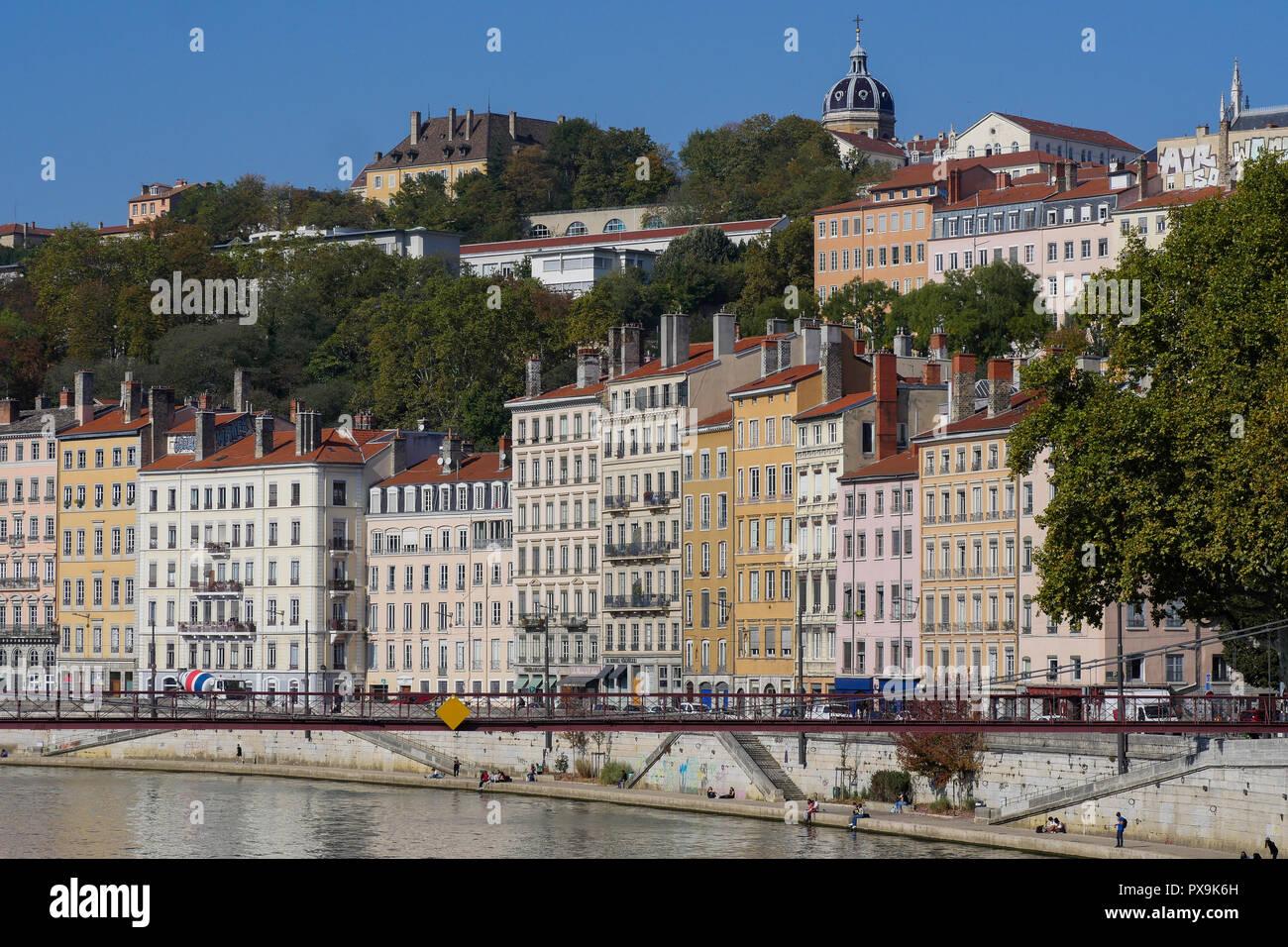Río Quays, Lyon, Francia. Foto de stock