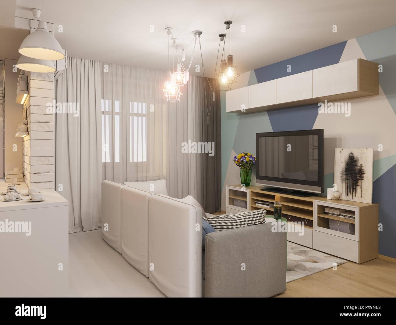 3D Render salon comedor y cocina de diseño interior. Estudio ...