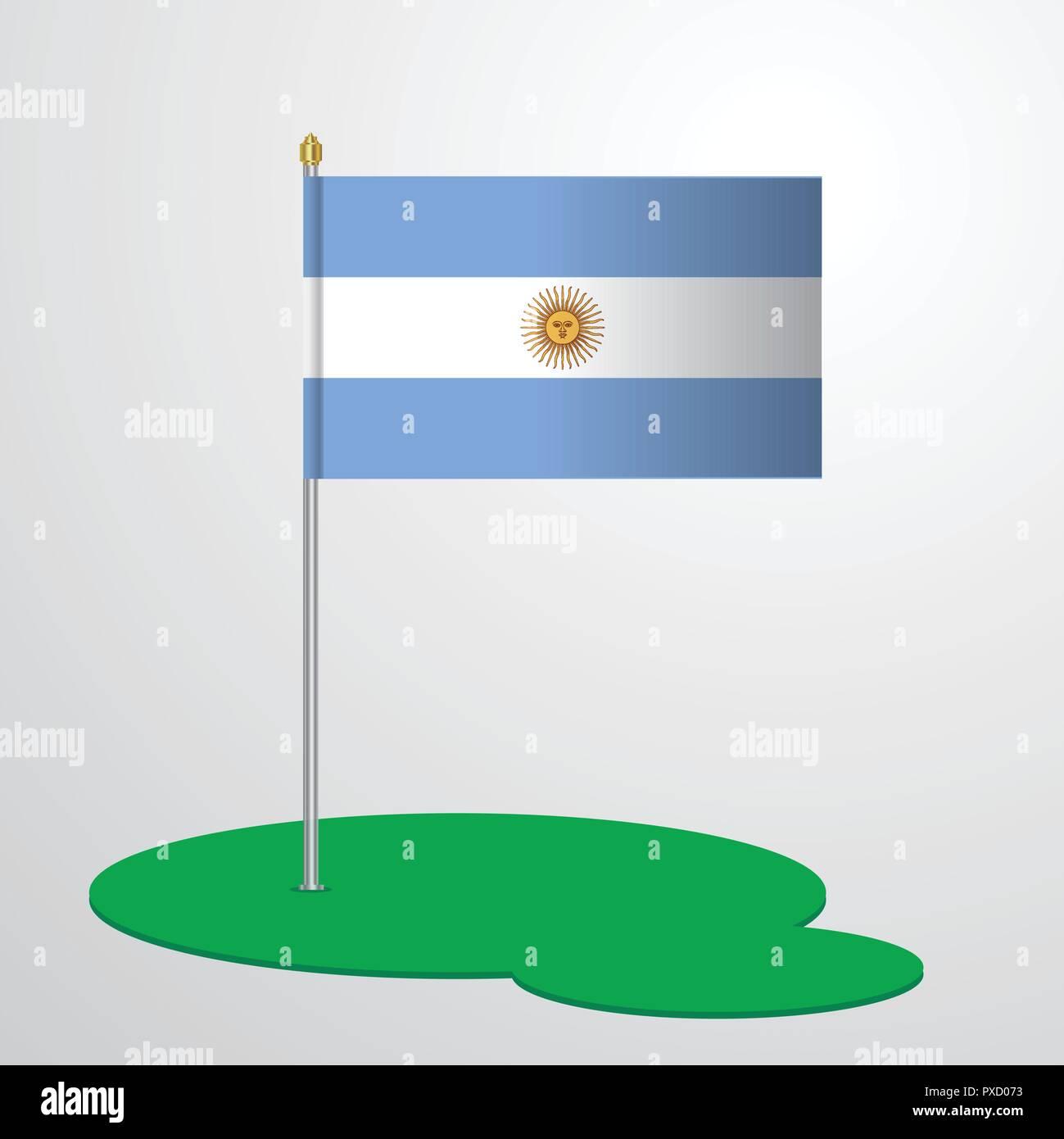 Mástil De Bandera Argentina Ilustración Del Vector Imagen