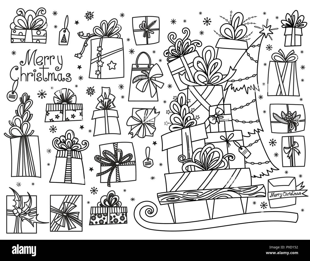 Dibujos De Navidad Regalos.Doodle Juego De Regalos De Navidad Cajas De Regalo De
