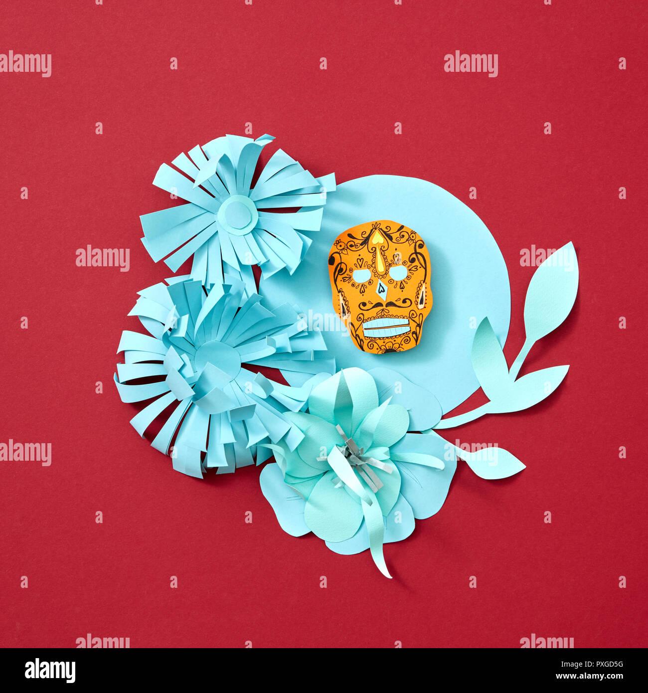 Bastidor Redondo Azul Con Calaveras Atributo De La Fiesta Mexicana