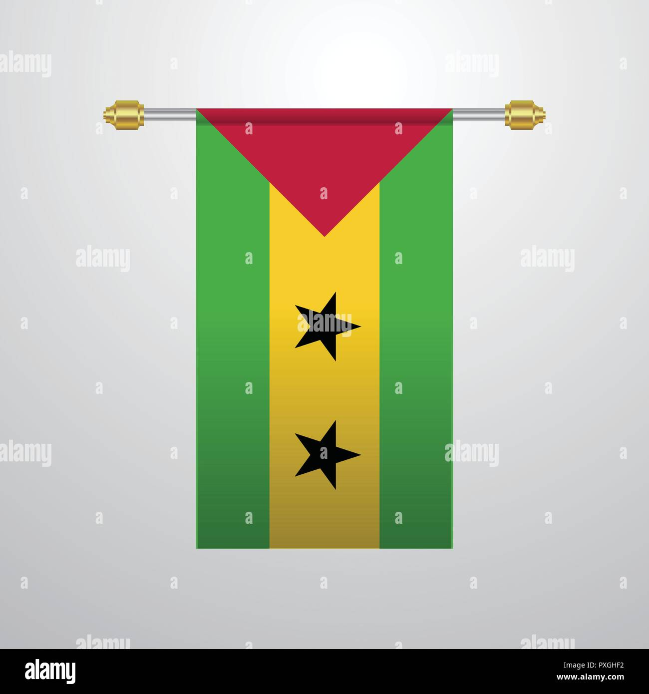 Santo Tome Y Principe Bandera Colgante Ilustracion Del Vector