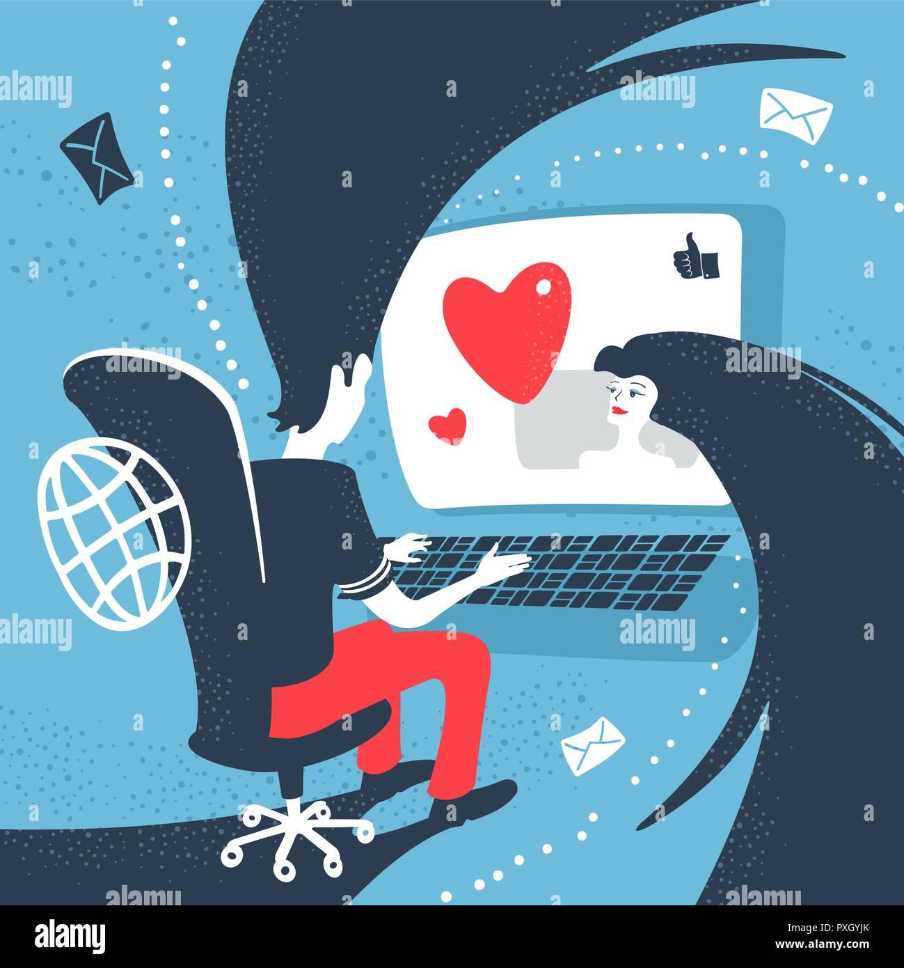 Chico y chica comunicarse Online Internet Concepto Imagen De Stock