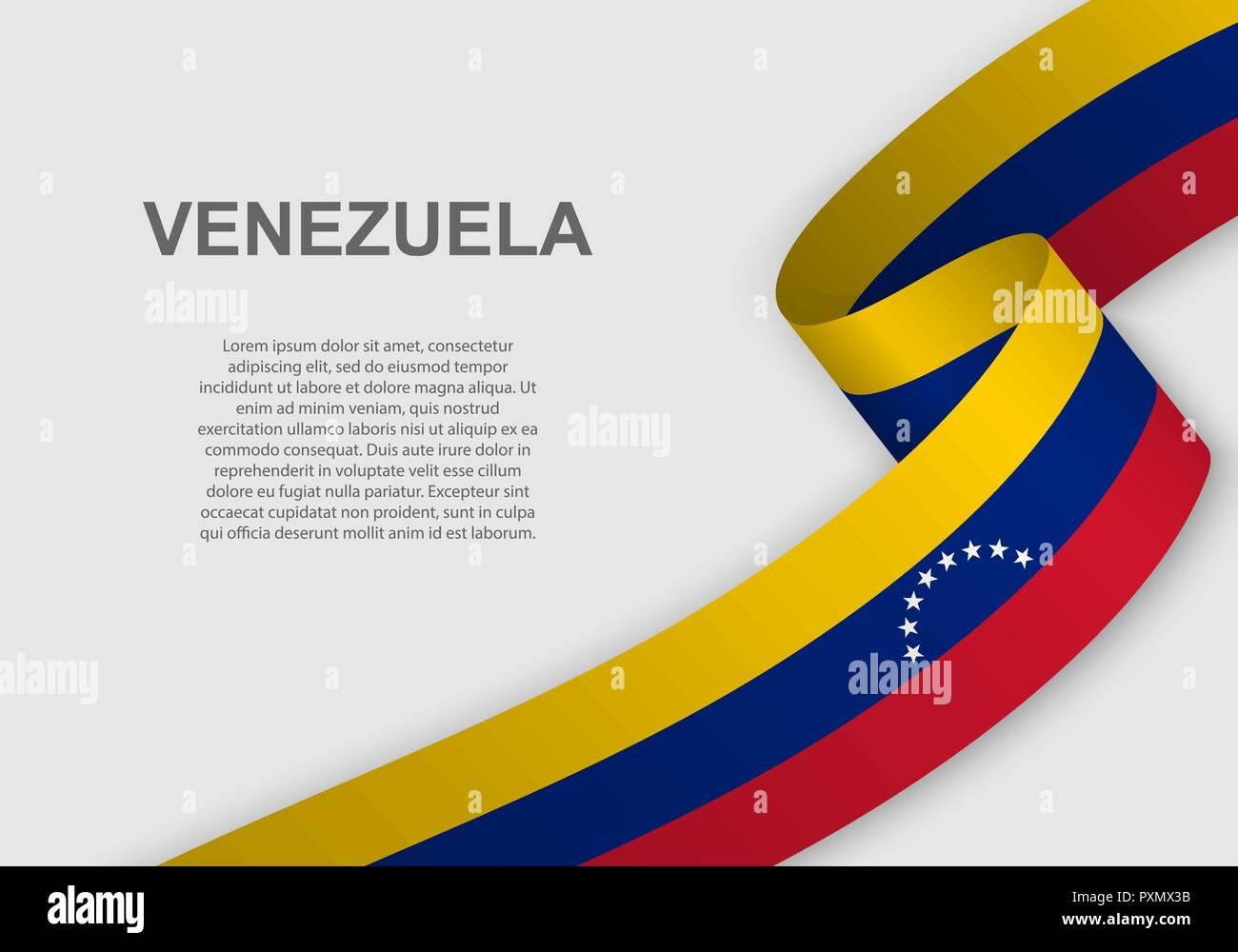 Ondeando La Bandera De Venezuela Plantilla Para El Día De La