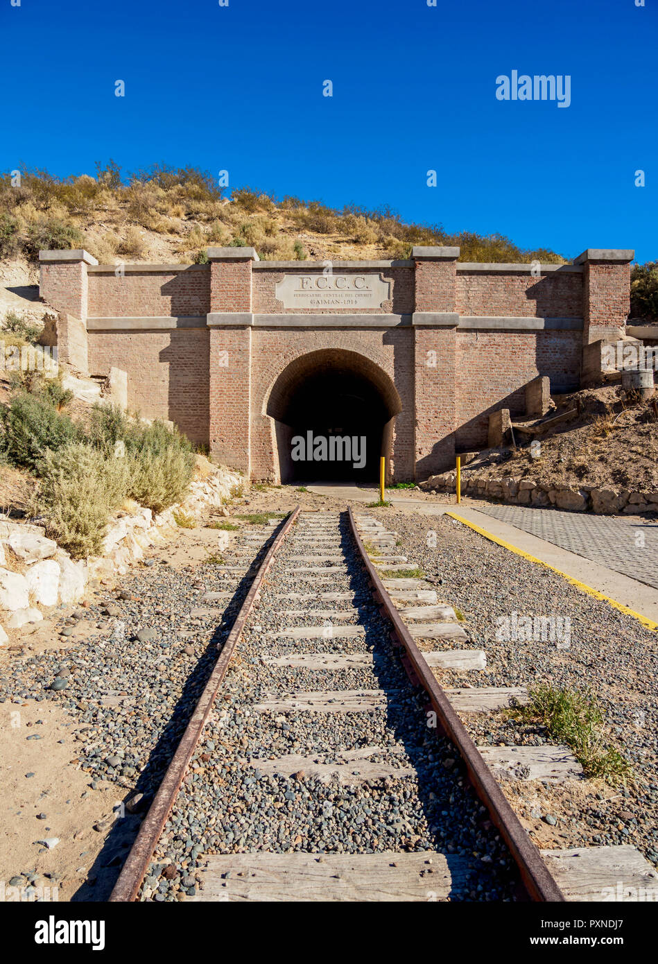 Túnel de ferrocarril central de Chubut, Gaiman, el asentamiento galés, Provincia del Chubut, Patagonia, Argentina Foto de stock