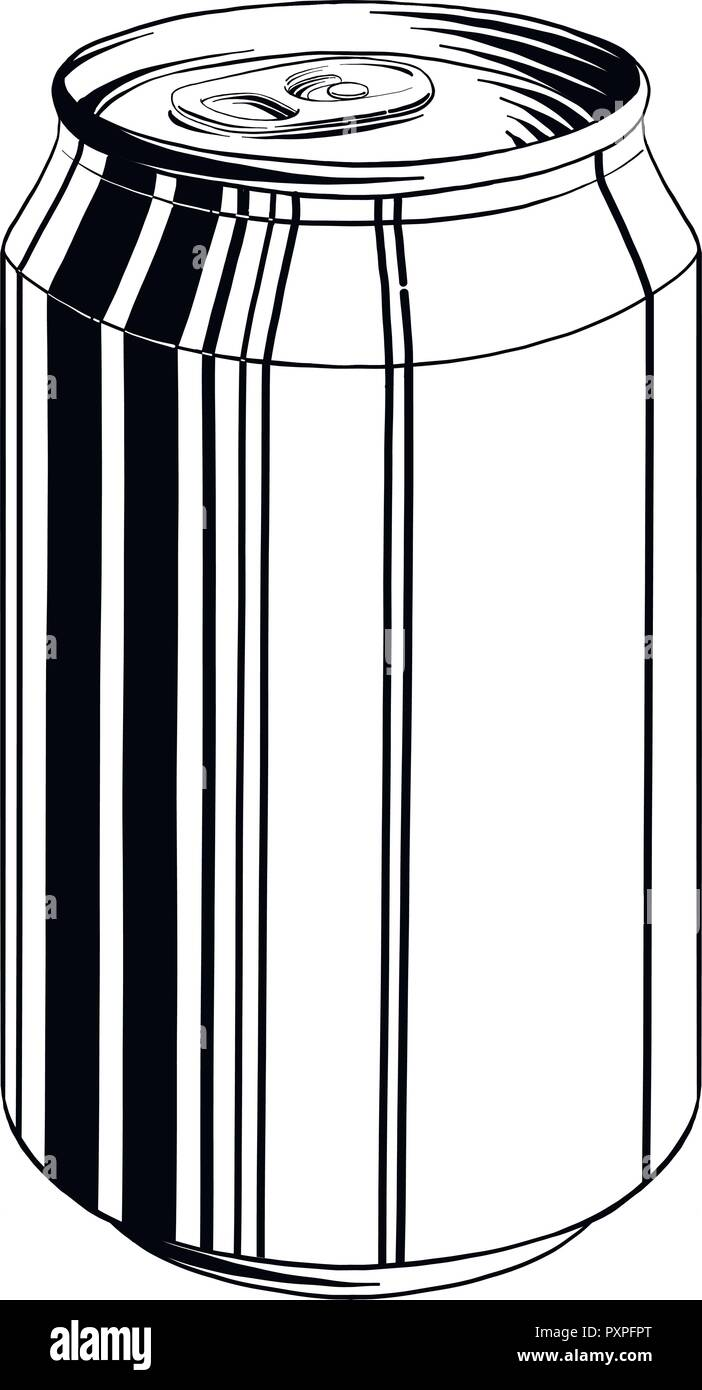 Croquis Dibujados A Mano De Latas De Aluminio Aislados En