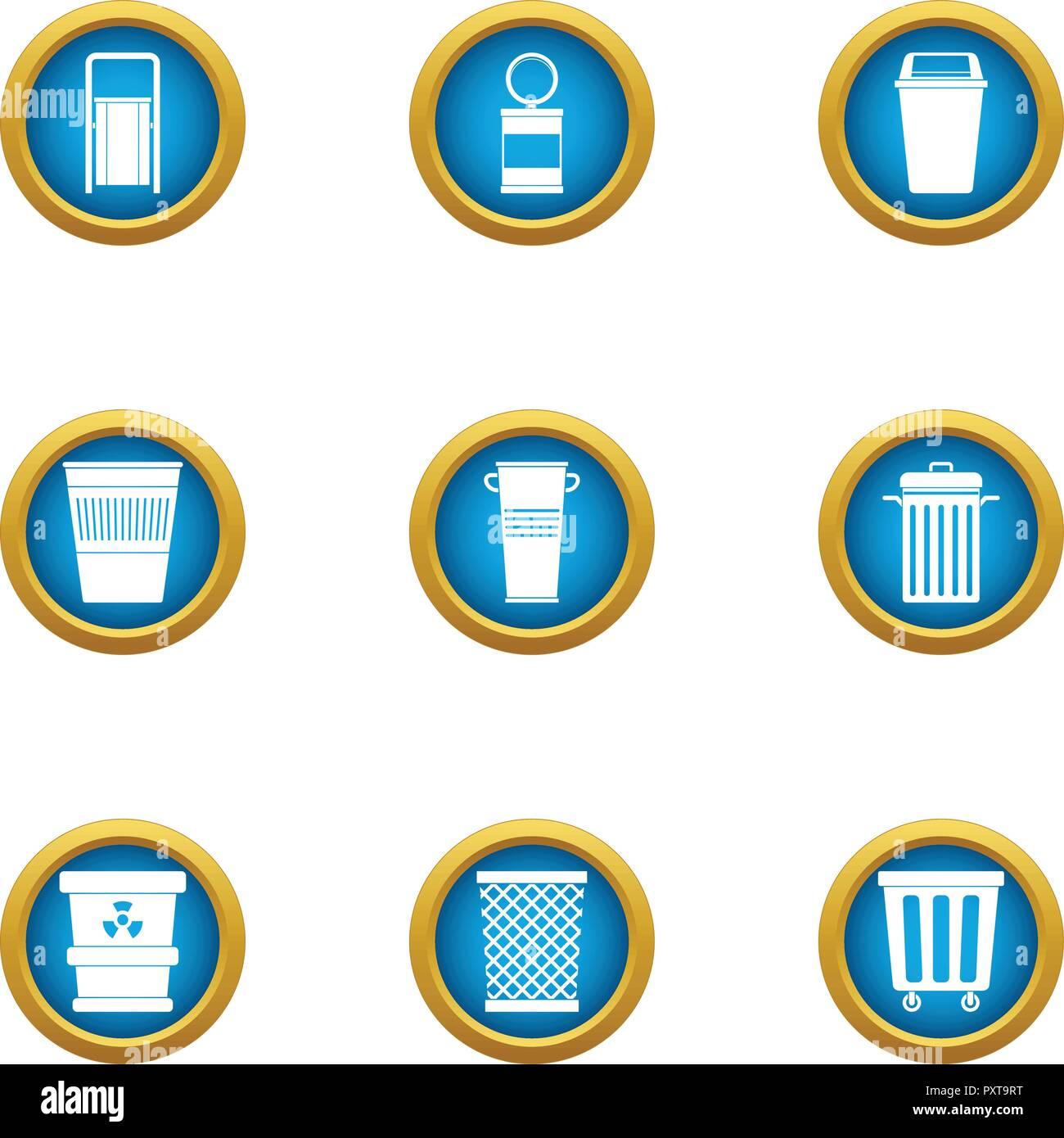 Conjunto de iconos de la canasta de consumo, tipo plano Imagen De Stock