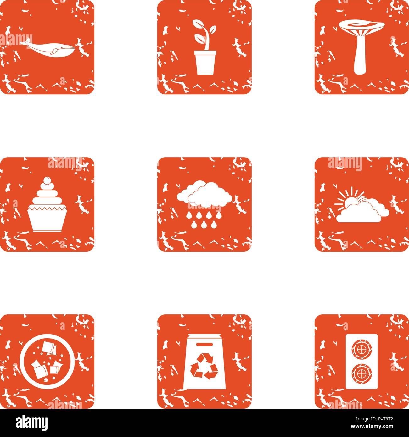 Resumen conjunto de iconos, estilo grunge Imagen De Stock
