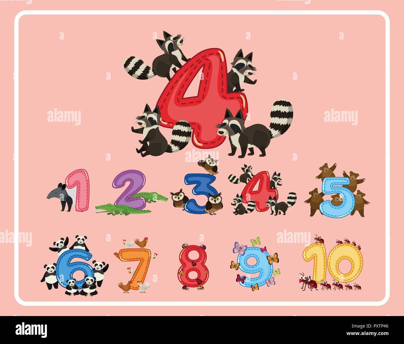 Número 1 al 10 con animales ilustración Imagen De Stock