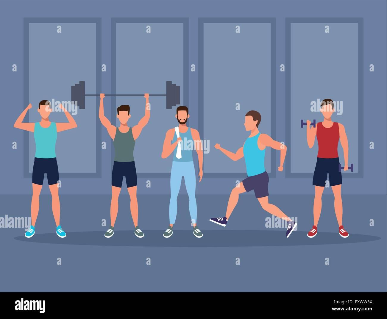 Mens haciendo ejercicios de gimnasia Imagen De Stock