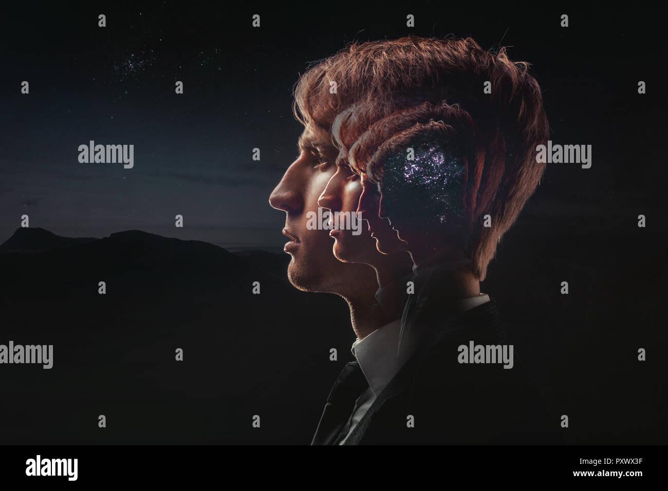 Perfil de un hombre joven con la actividad mental, cerebro y conciencia, con el cosmos como un cerebro. El concepto científico. El cerebro y la creatividad Foto de stock