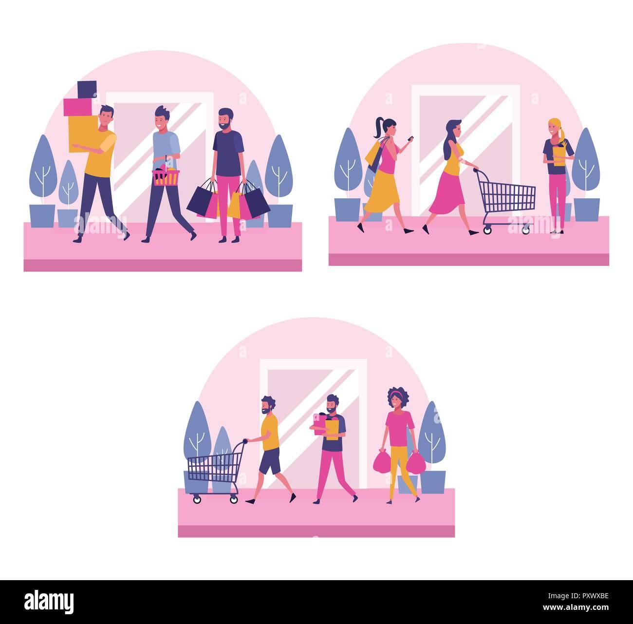 Conjunto de personas compras Imagen De Stock