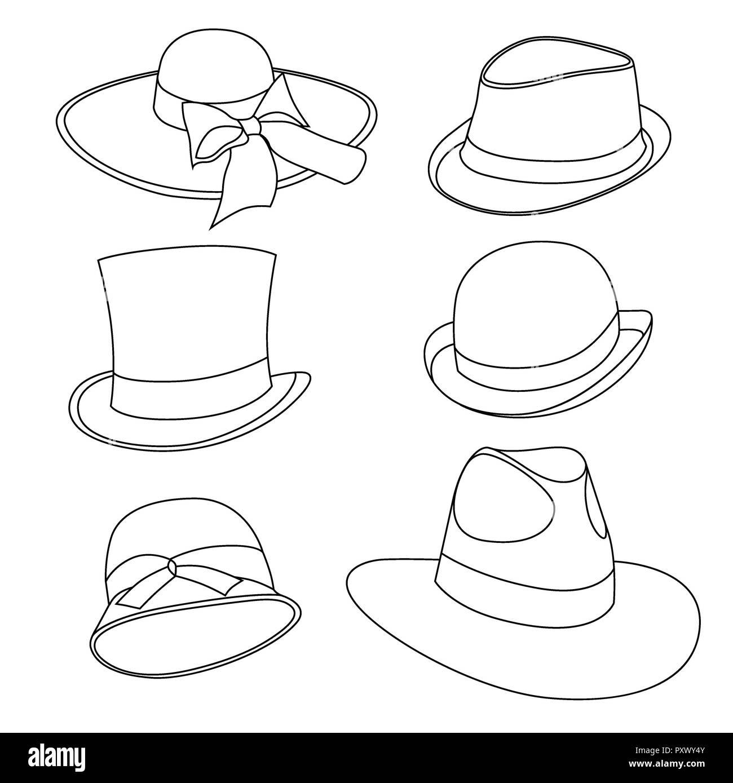 Conjunto de sombreros masculinos y femeninos de modelos antiguos. Aislado  en blanco Imagen De Stock fb5d7be3c30