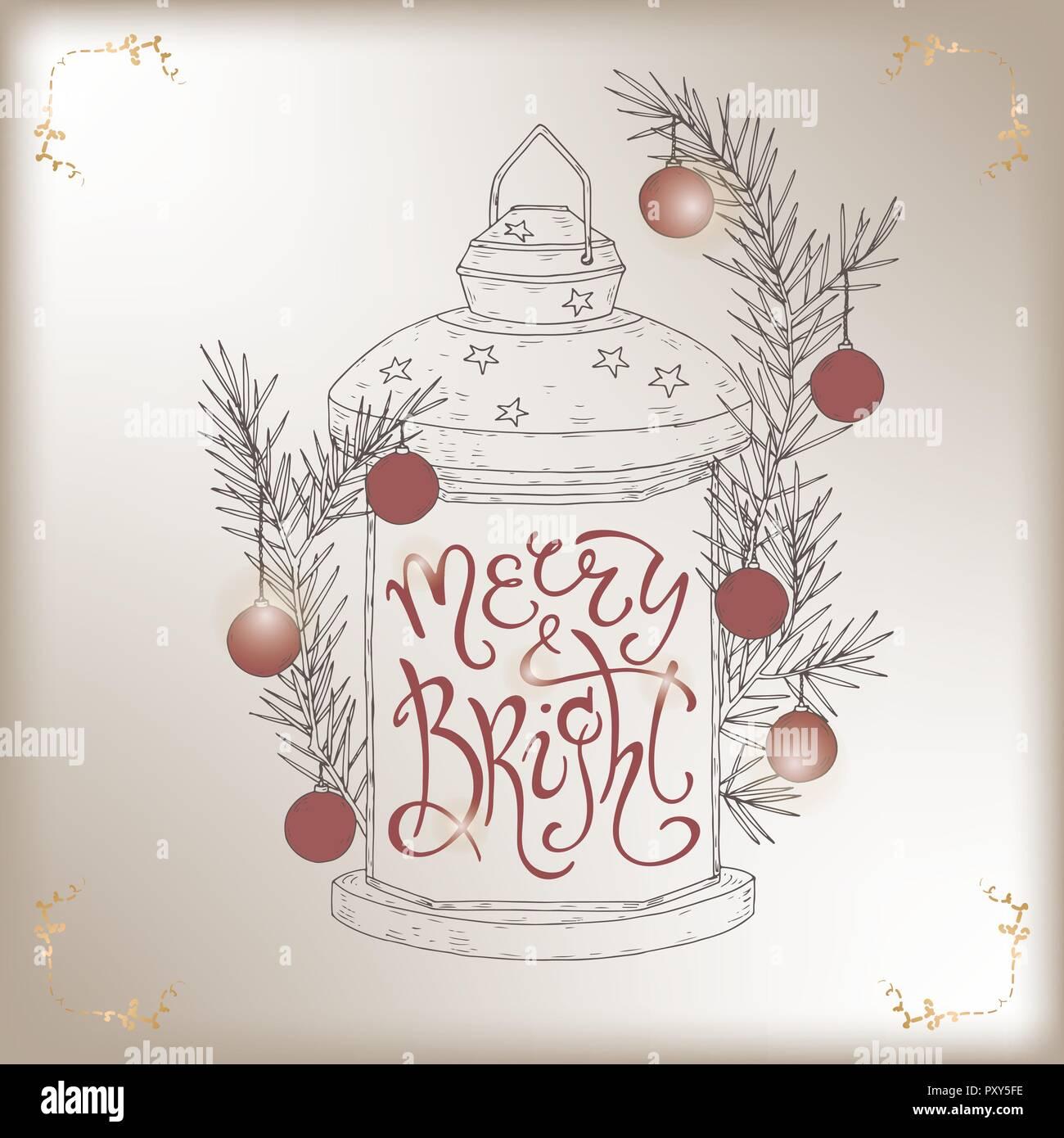 Navidad Letras Cepillo Colocado En Un Simple Boceto De Un