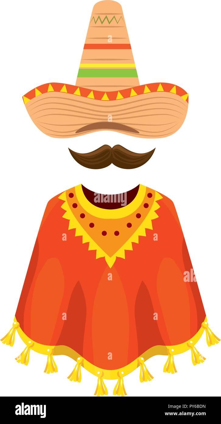 Poncho mexicano con sombrero y bigote diseño ilustración vectorial ... 73f3a74c9b4