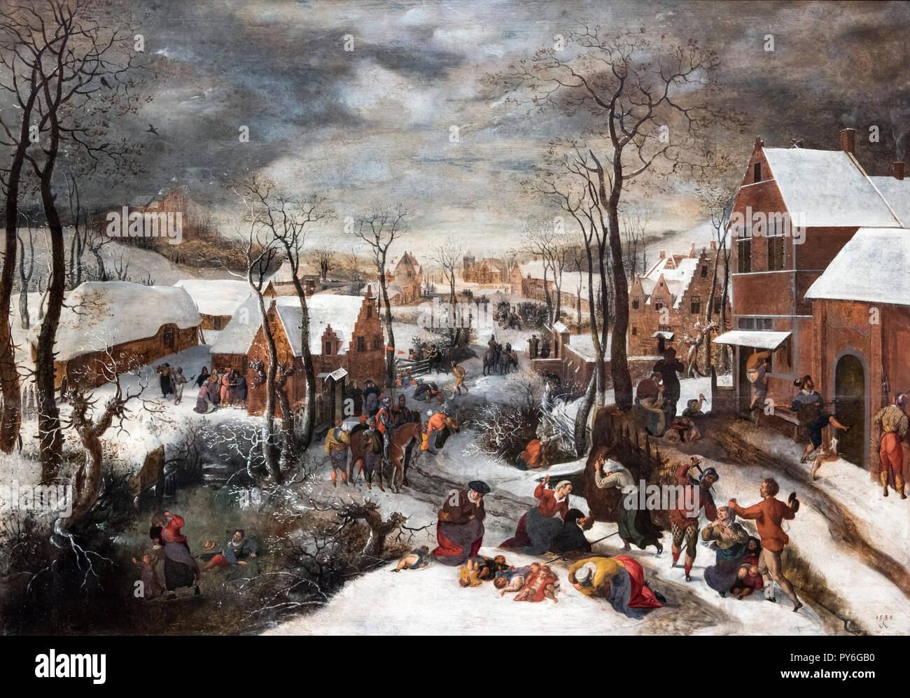 La matanza de los Inocentes Lucas van Valckenborch el anciano (c.1535-1597), óleo sobre panel, 1586 Foto de stock
