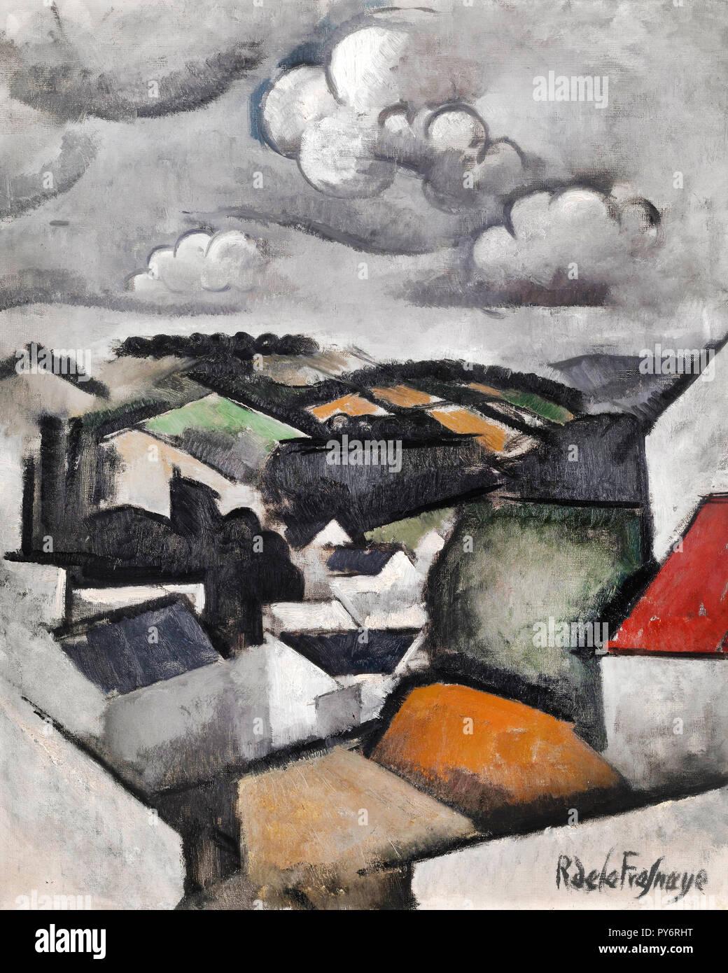 Roger de La Fresnaye, paisaje con una aldea, las colinas más allá de Meulan 1911 Óleo sobre lienzo, Museo de Arte de Indianápolis, Estados Unidos. Foto de stock