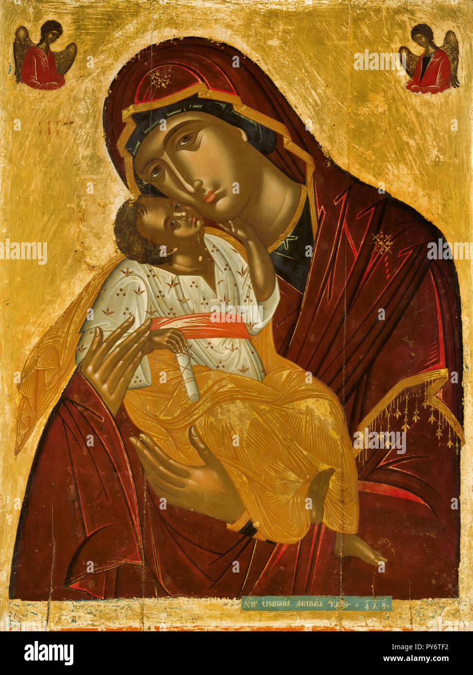 Emmanuel Lambardos, La Virgen de la Ternura 1609 Icono, óleo sobre panel, Museo Benaki, en Atenas, Grecia. Imagen De Stock