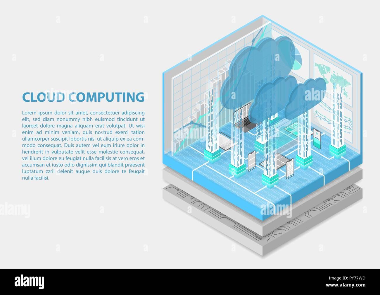 Cloud Computing isométrica ilustración vectorial. Infografía 3D abstractos con dispositivos móviles Ilustración del Vector