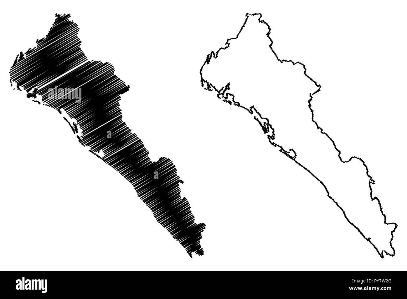 Sinaloa Estados Unidos Mexicanos México República Federal Mapa