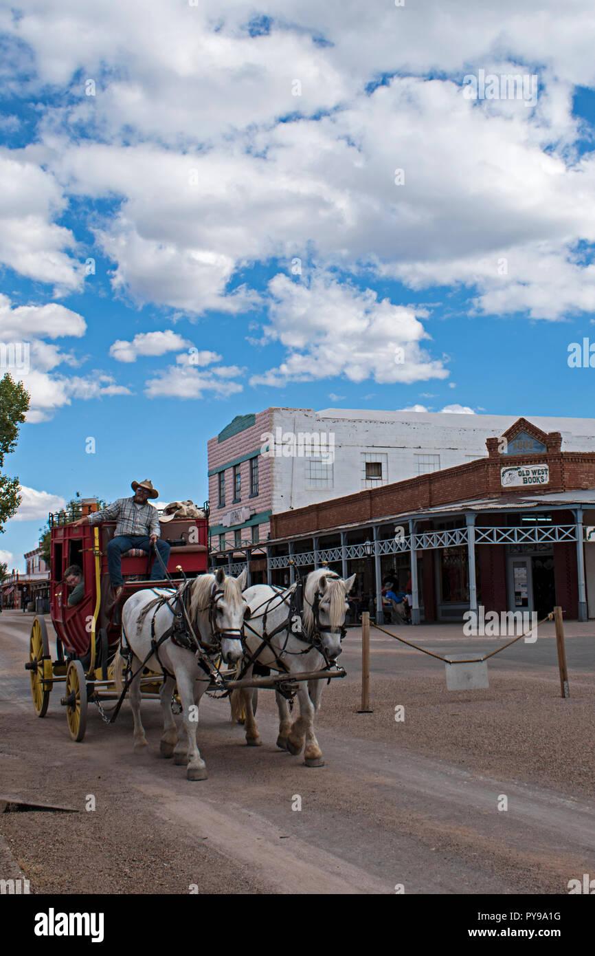Allen Street Stagecoach. Tombstone Arizona, EE.UU. Foto de stock