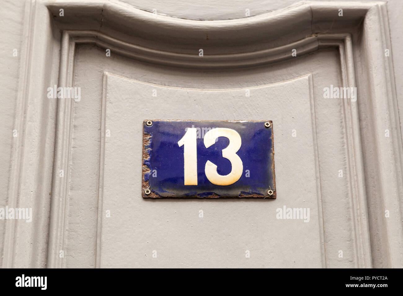 Puerta de Esmalte Pequeño Estilo Antiguo número 17 Número De Casa Cartel Placa Señal