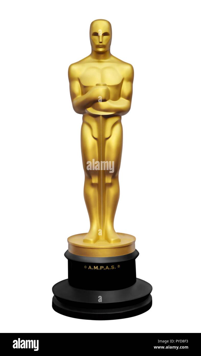 Oscar estatua ilustración sobre fondo blanco. Imagen De Stock