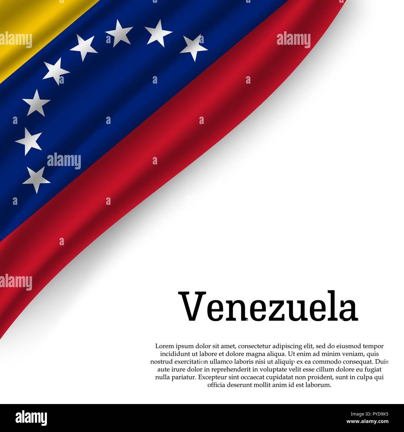 Ondeando La Bandera De Venezuela Sobre Fondo Blanco Plantilla Para