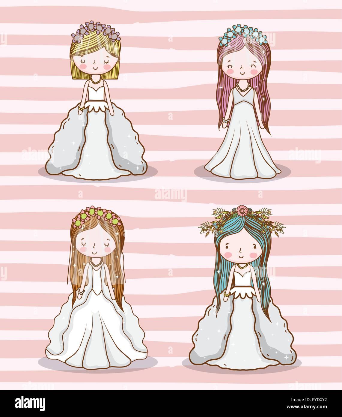 Las Mujeres Boda Con Vestido Y Peinado Ilustracion Del Vector