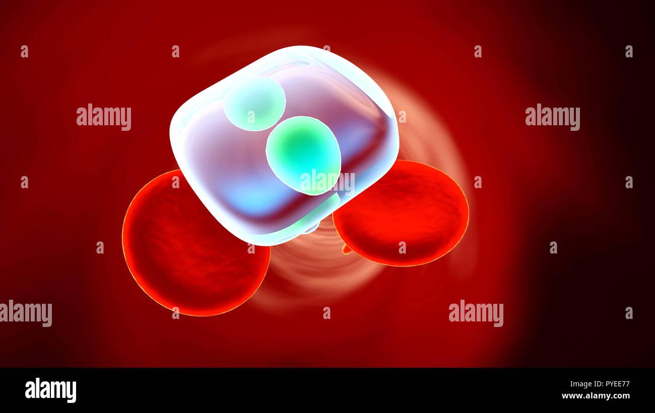 Moléculas de drogas flotando en el torrente sanguíneo. Foto de stock