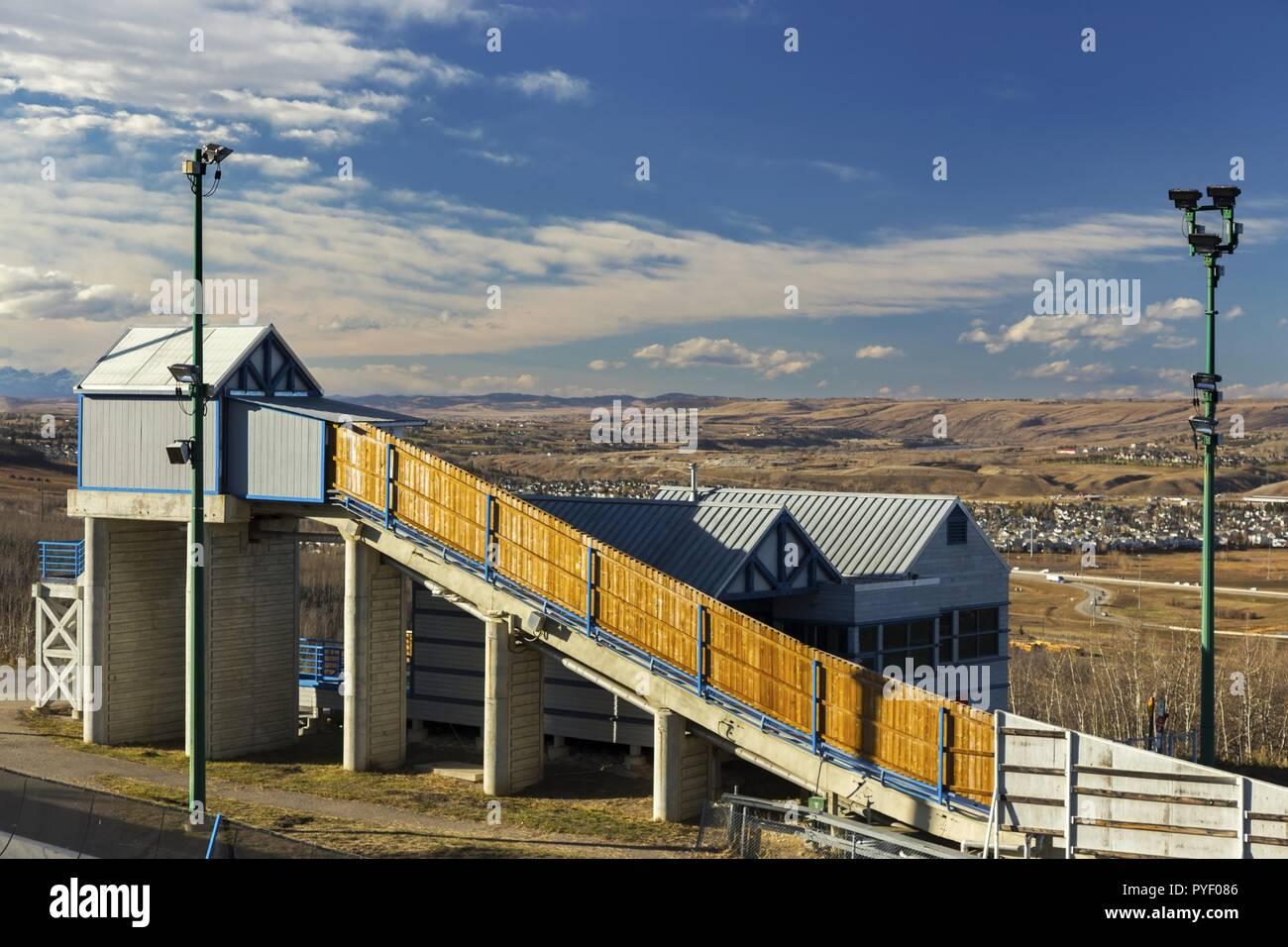 Bob trineo instalaciones deportivas de invierno en el Parque Olímpico de Canadá (CP) en la ciudad de Calgary, Alberta Imagen De Stock