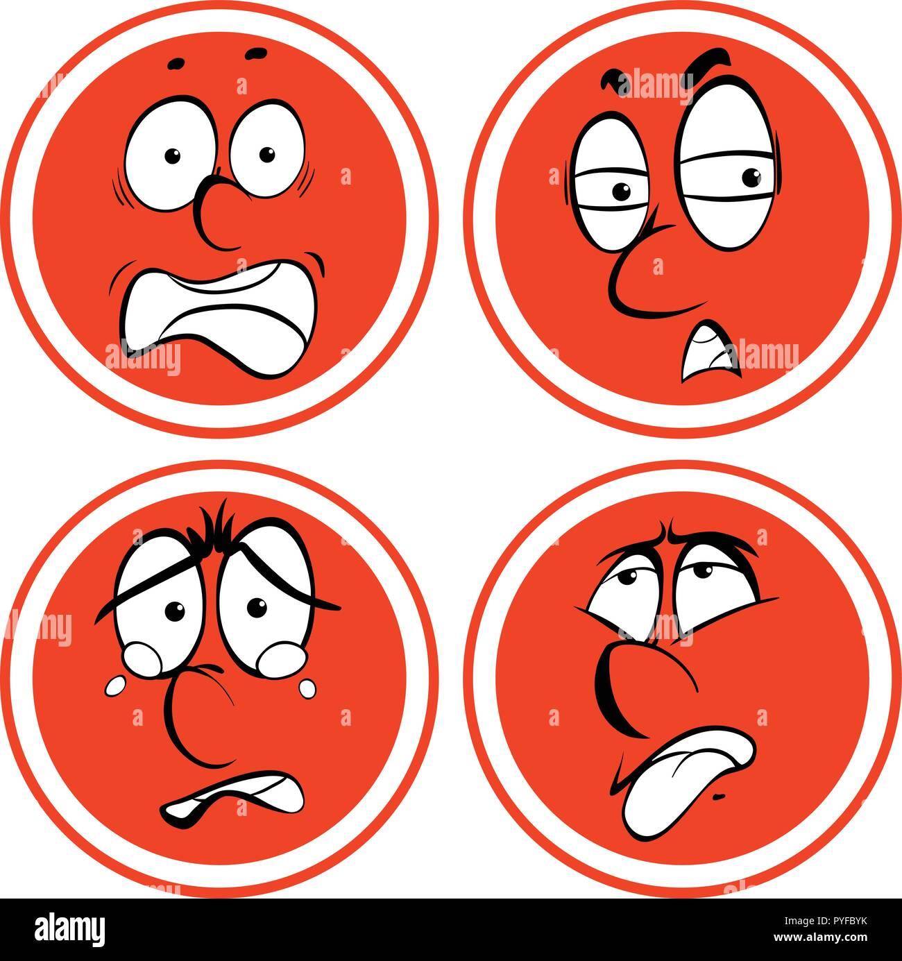 Las expresiones faciales de círculo rojo ilustración Ilustración del Vector
