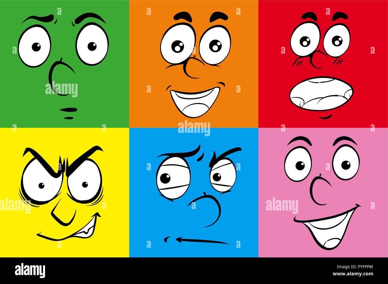Las diferentes expresiones de rostros humanos ilustración Ilustración del Vector