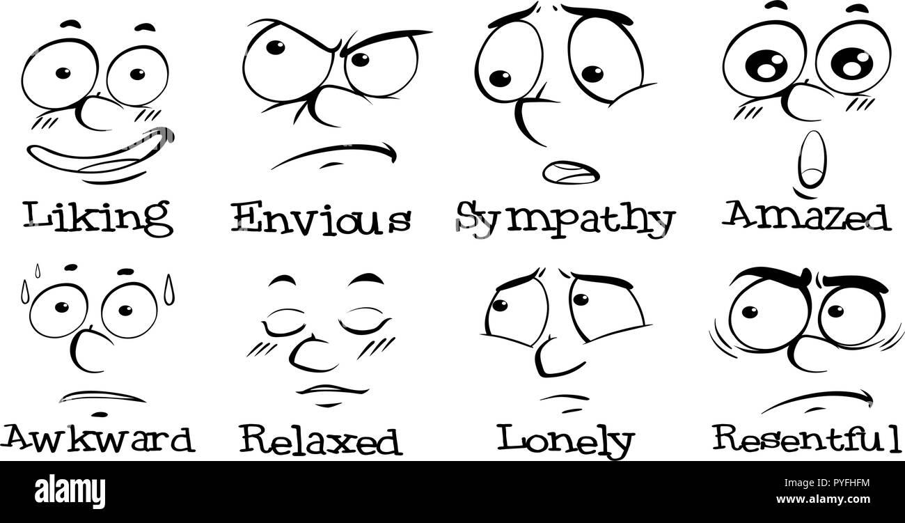 Las diferentes expresiones de rostro humano con palabras ilustración Ilustración del Vector