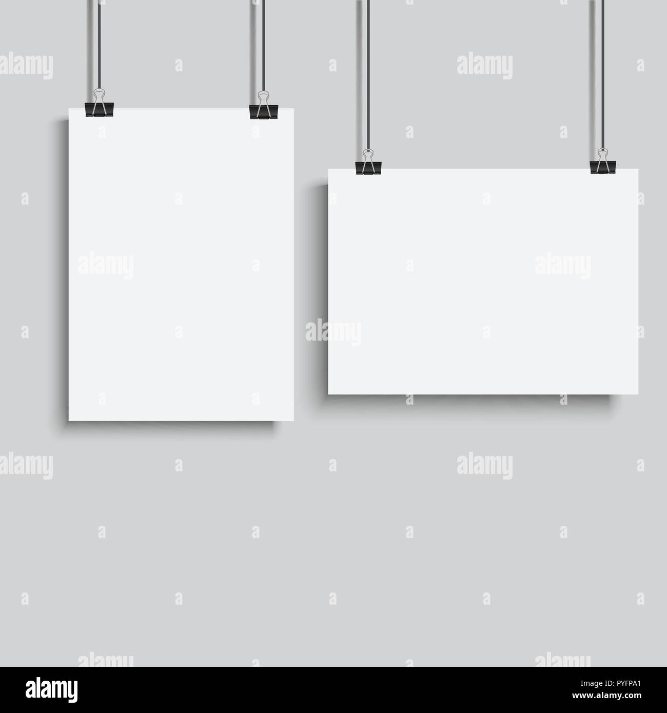 Póster en blanco colgando de binder. Ilustración vectorial. Imagen De Stock