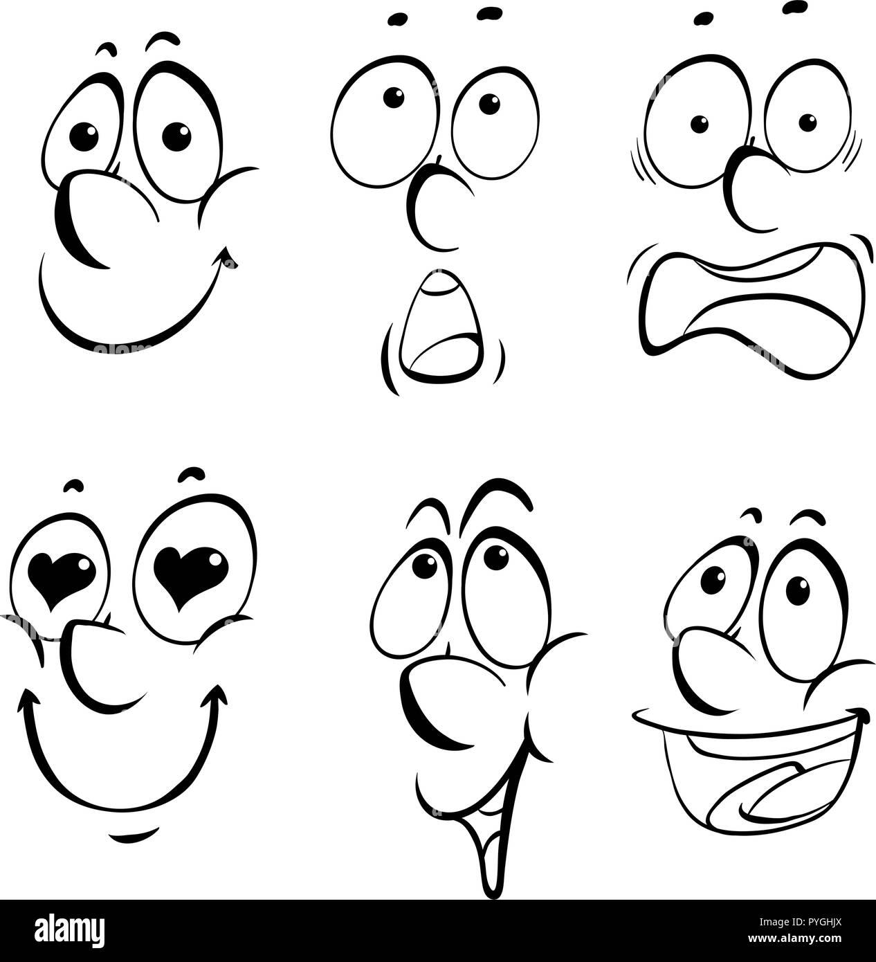 Las diferentes expresiones faciales ilustración sobre fondo blanco. Ilustración del Vector