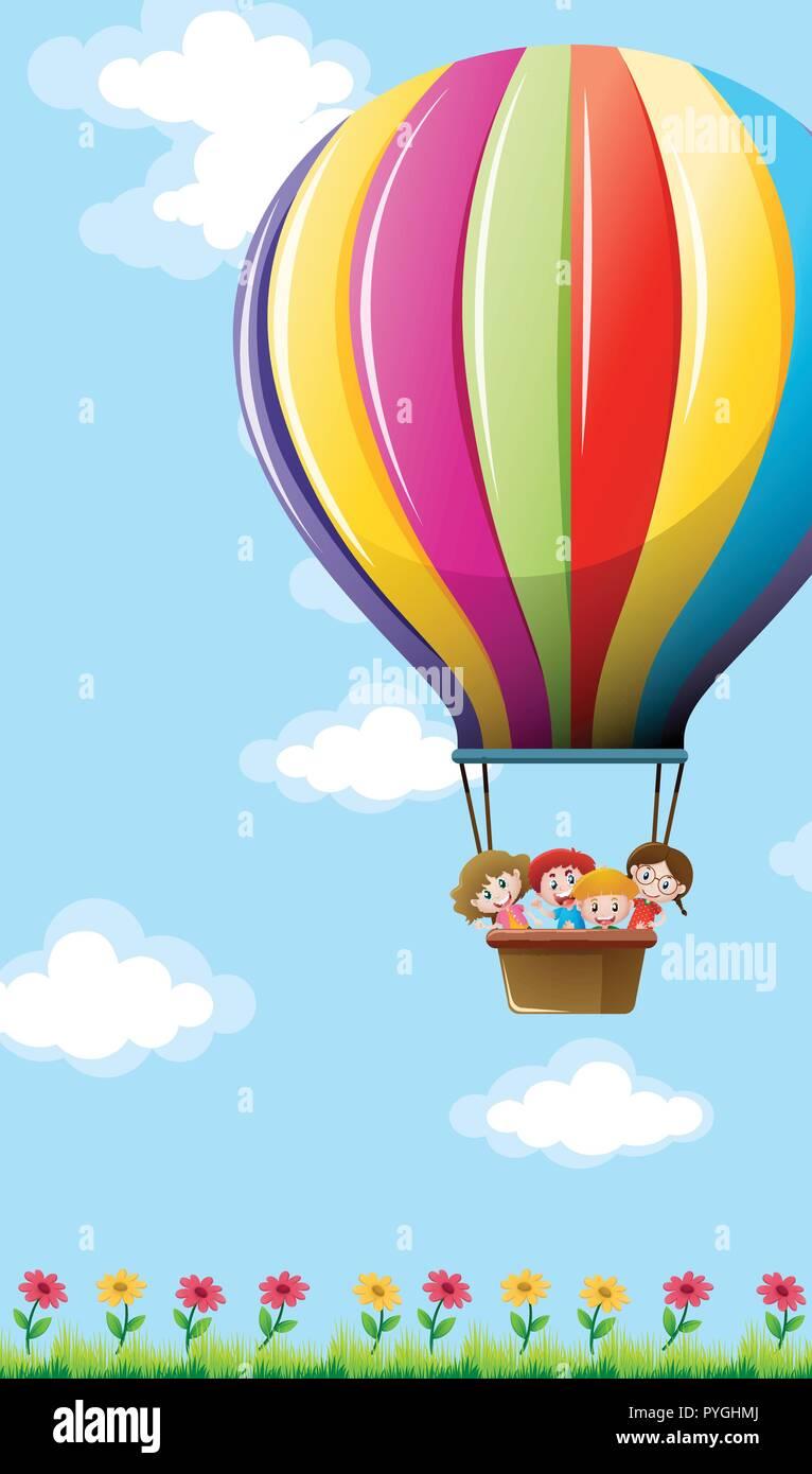 Muchos niños de volar en globo colorida ilustración Ilustración del Vector