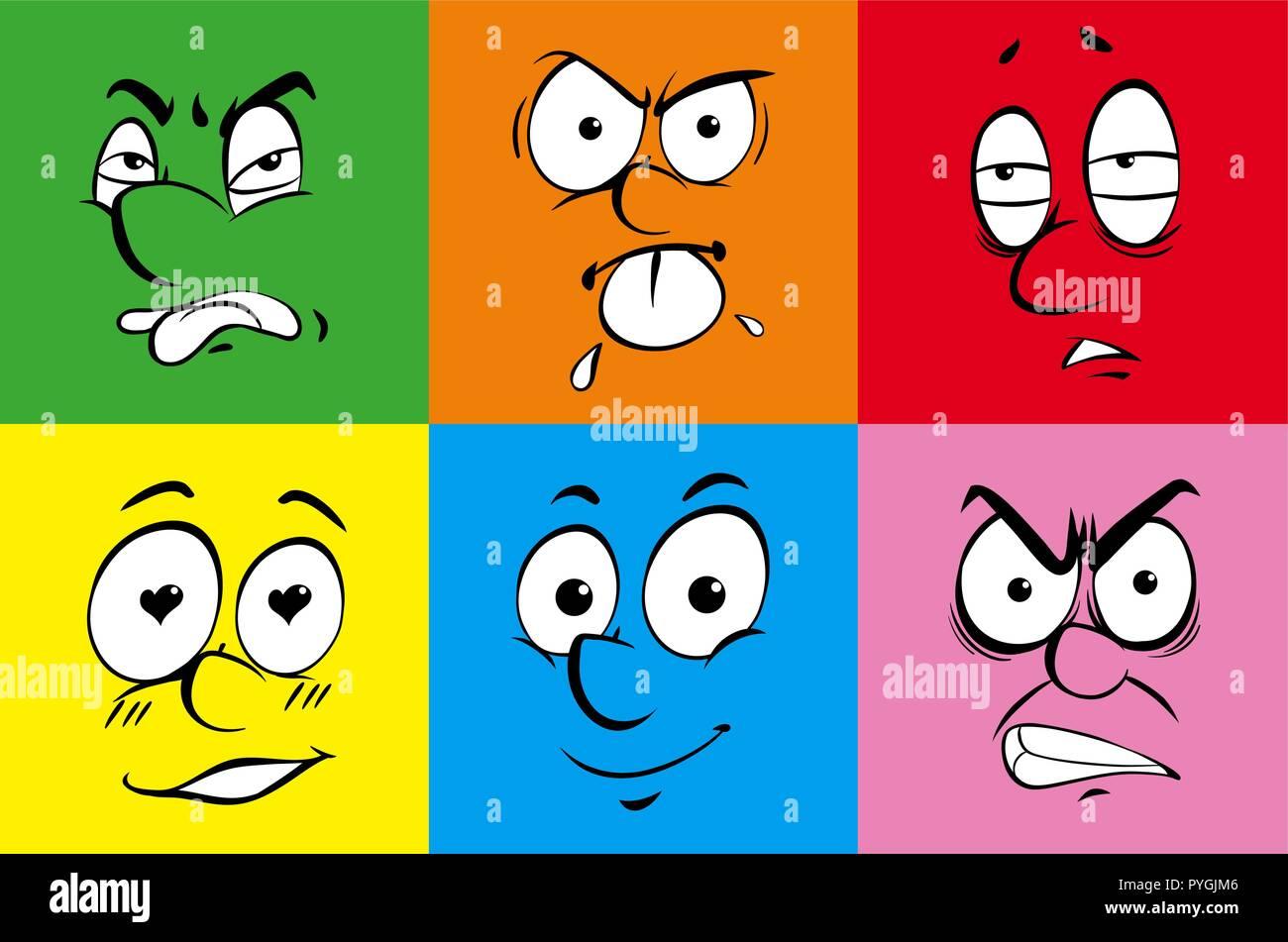 Derechos de las expresiones faciales de coloridas ilustraciones de fondo Ilustración del Vector
