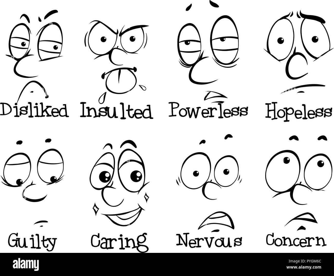 Expresiones y palabras humanas la ilustración Ilustración del Vector
