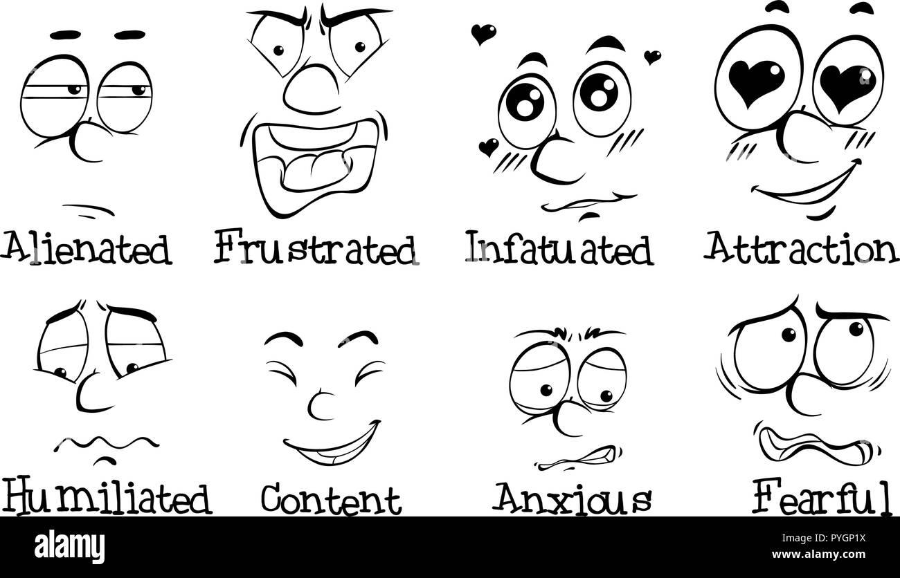 Muchas de las expresiones faciales de la ilustración Ilustración del Vector