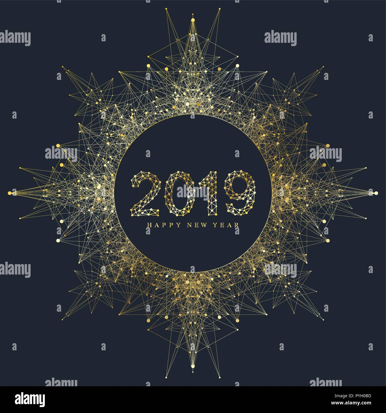 f43c71dc5 La moderna ilustración vectorial de Feliz Año Nuevo 2019 banner. Elemento  de diseño en negro y dorado para presentaciones