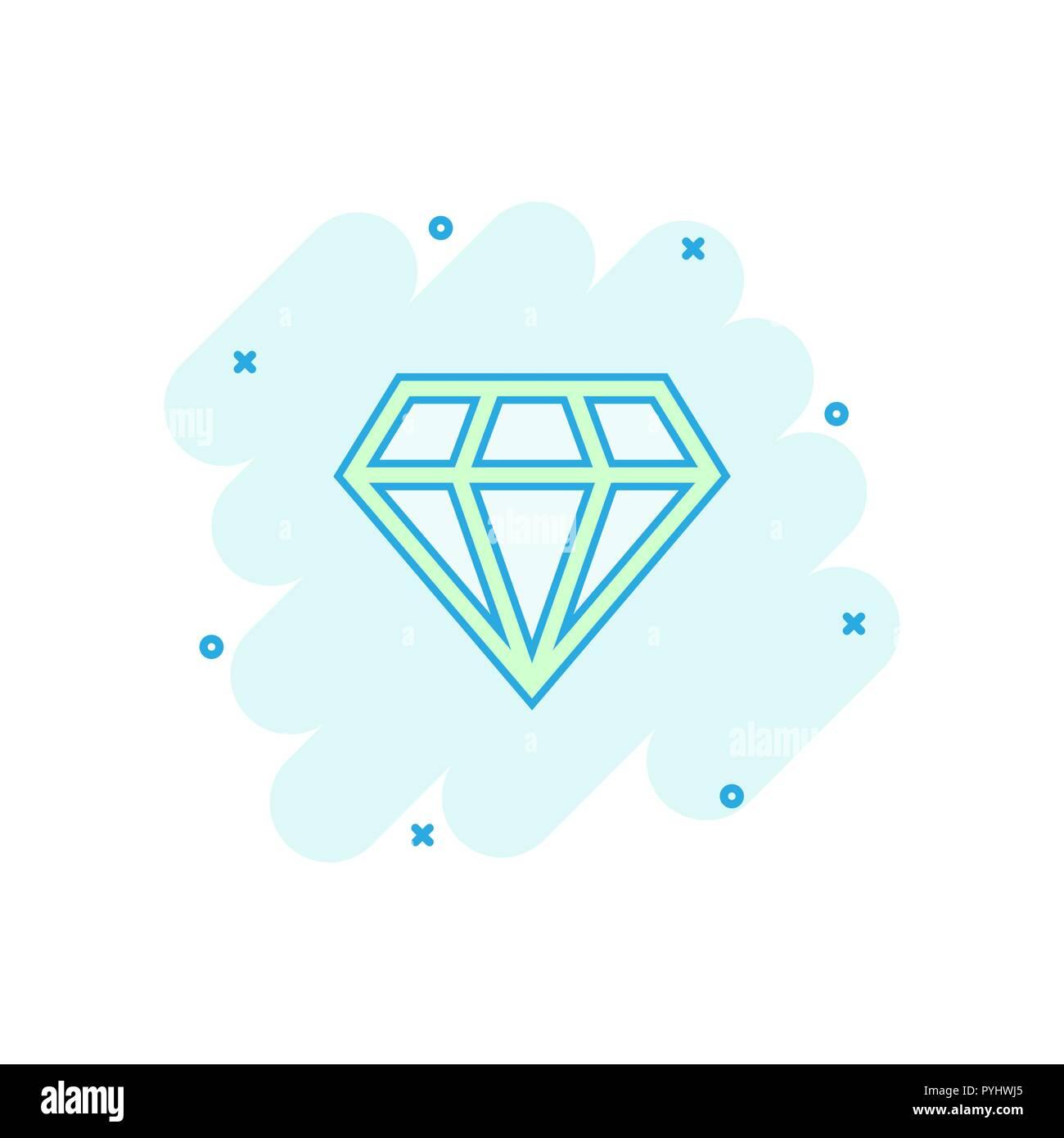 294235b613e0 Cartoon vectores diamond joya joya icono en estilo cómic. Ilustración de piedras  preciosas Diamantes pictograma