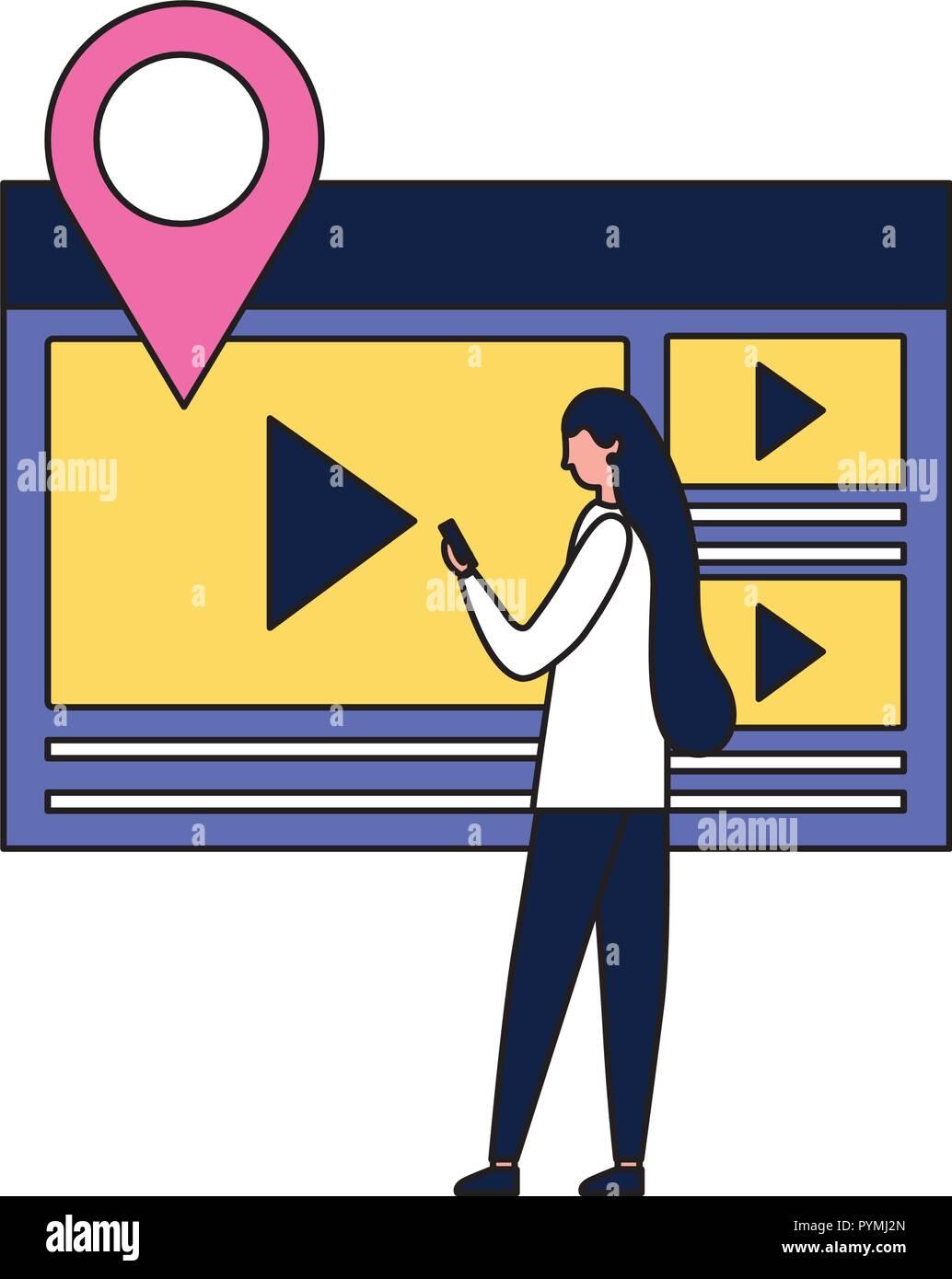 Mujer con contenido multimedia de vídeo móvil Imagen De Stock