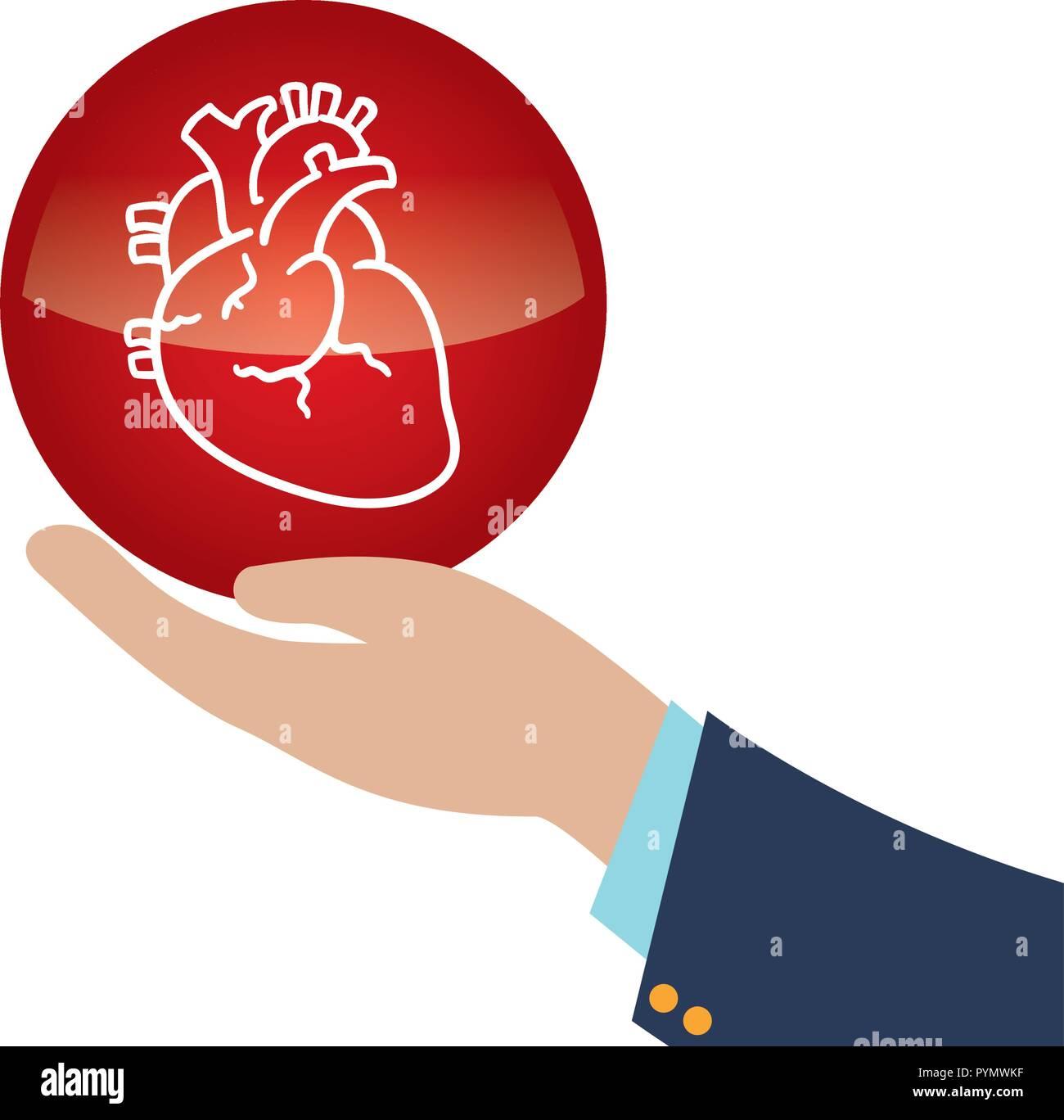 Levantar la mano del corazón humano órgano icono diseño ilustración vectorial Imagen De Stock