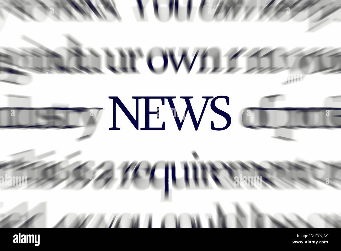 La palabra noticias con desenfoque dinámico atrayendo la atención Imagen De Stock