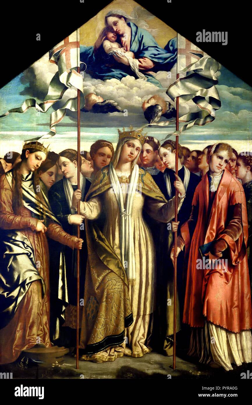 Santa Úrsula y sus compañeras 1537 Alessandro Bonvicino ( Buonvicino - Moretto ) 1498 - 1554) Moretto da Brescia, Italia del siglo XVI, italiano Imagen De Stock
